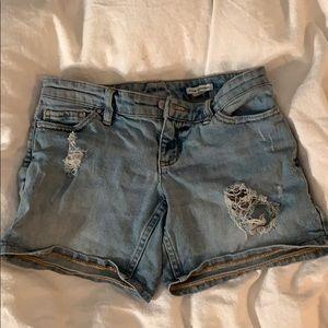 Club Monaco destroyed vintage wash denim shorts
